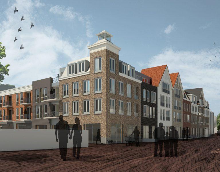 3D impressie Winkels en wonen aanzicht winkels en appartementen Ermelo (2)